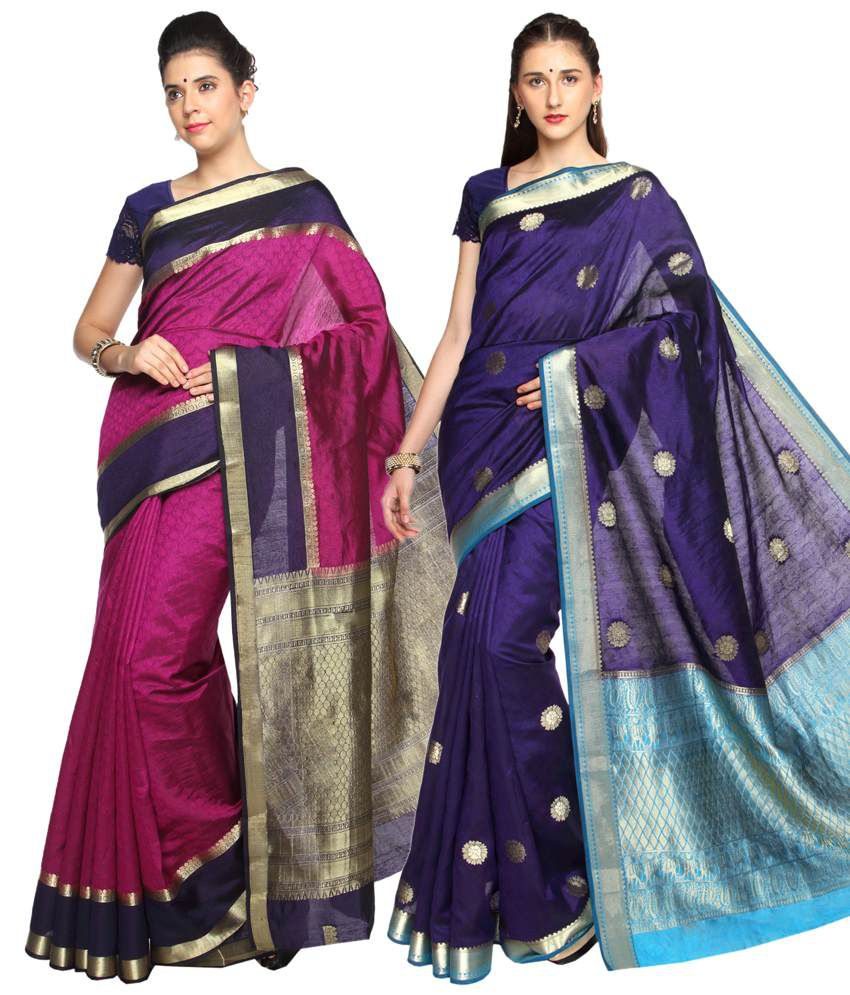 Reet Pack of 2 Pink & Purple Plain Cotton Sarees with Blouse Pieces