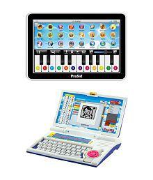PraSid Combo Of English Learner Kids Laptop (Blue) & 20 Key Music Centre