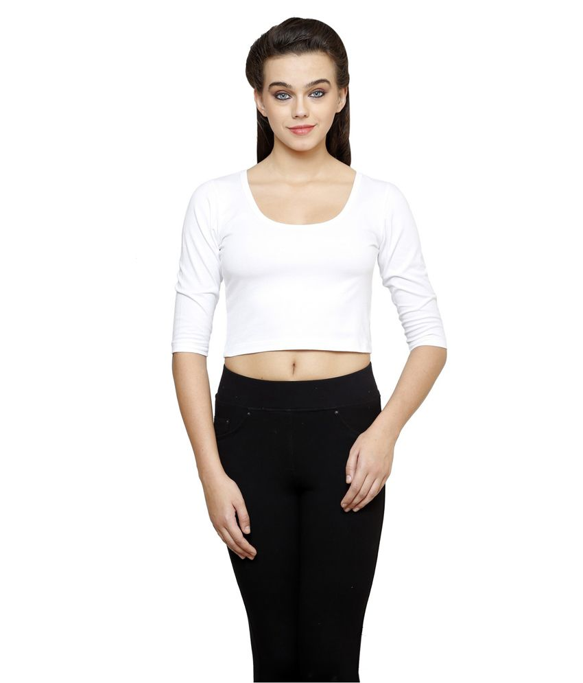 Finesse Plus Size 3/4th Sleeve White Crop Top