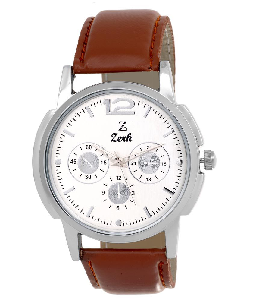 Zerk Silver Analog Leather Round Watch