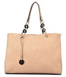 Diana Korr Beige Faux Leather Shoulder Bag