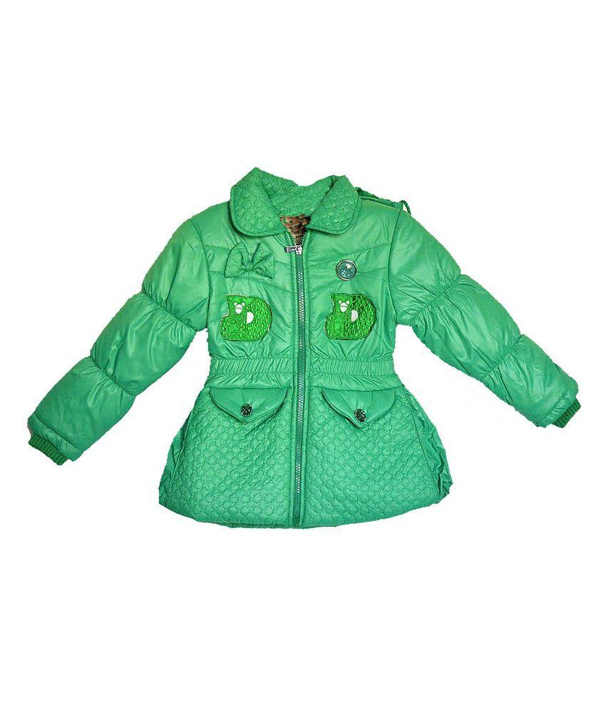 London Girl Green Little Bow Hooded Jacket for Girls
