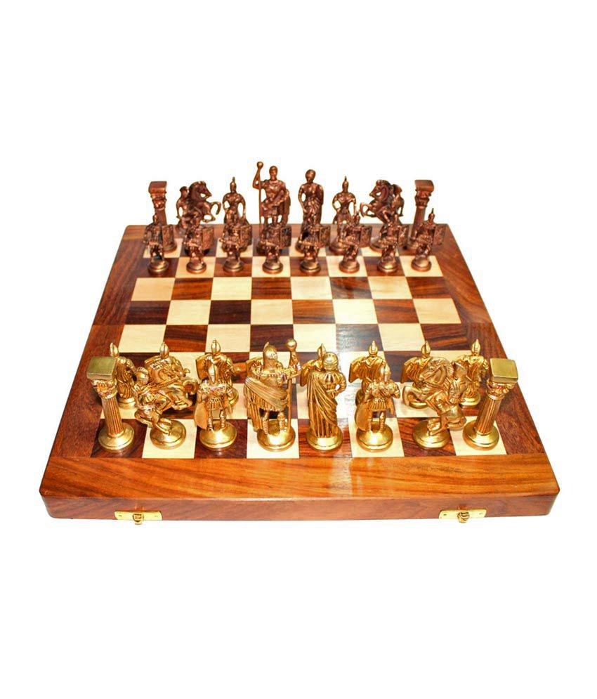Prime Decor Vintage Roman Brass Chess(16*16) With Folding Box
