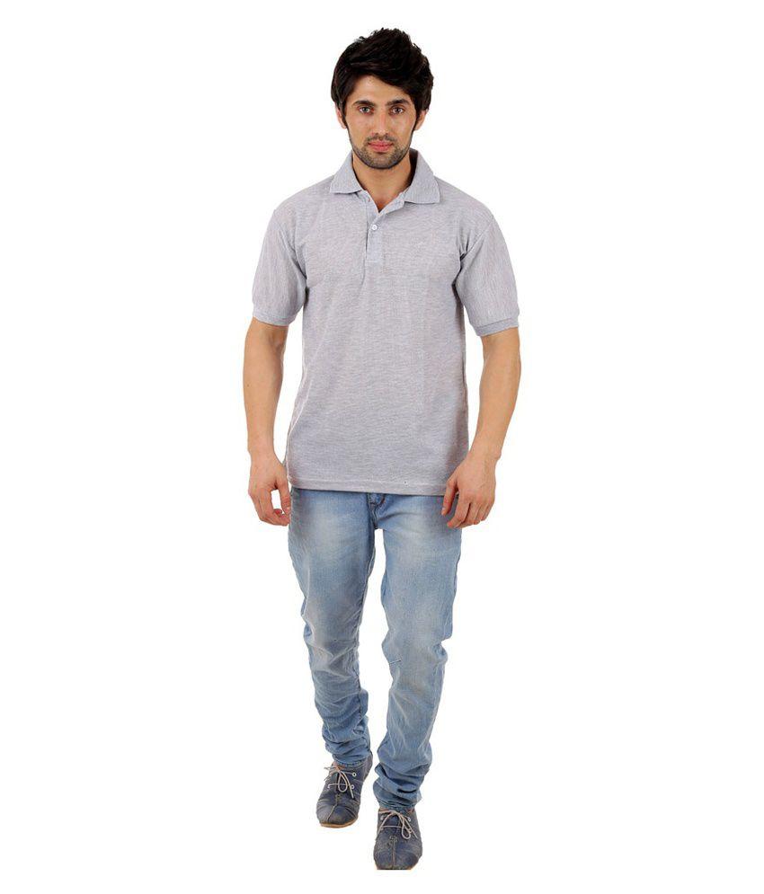 Rock Hard Grey Cotton Blend Polo T Shirt
