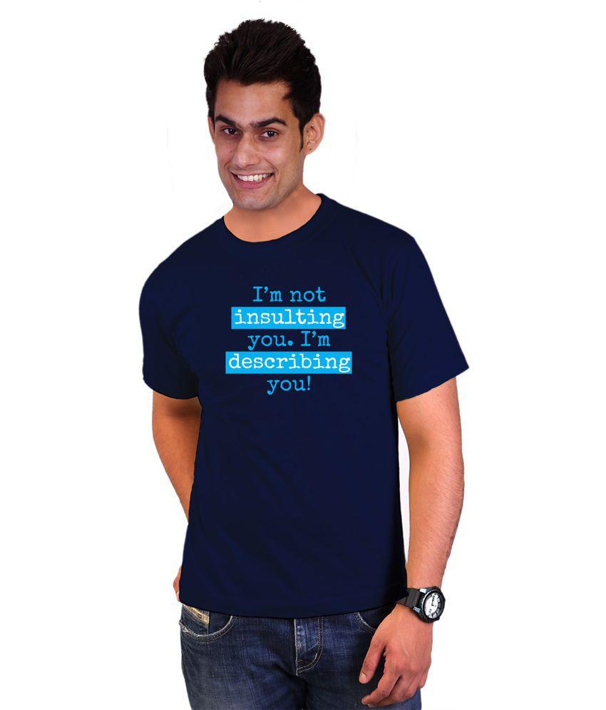 Wicked Bite Design Navy Blue Printed Cotton T Shirt
