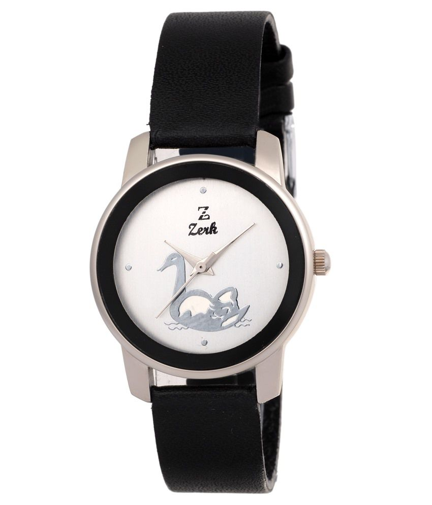 Zerk Silver & Black Leather Watch