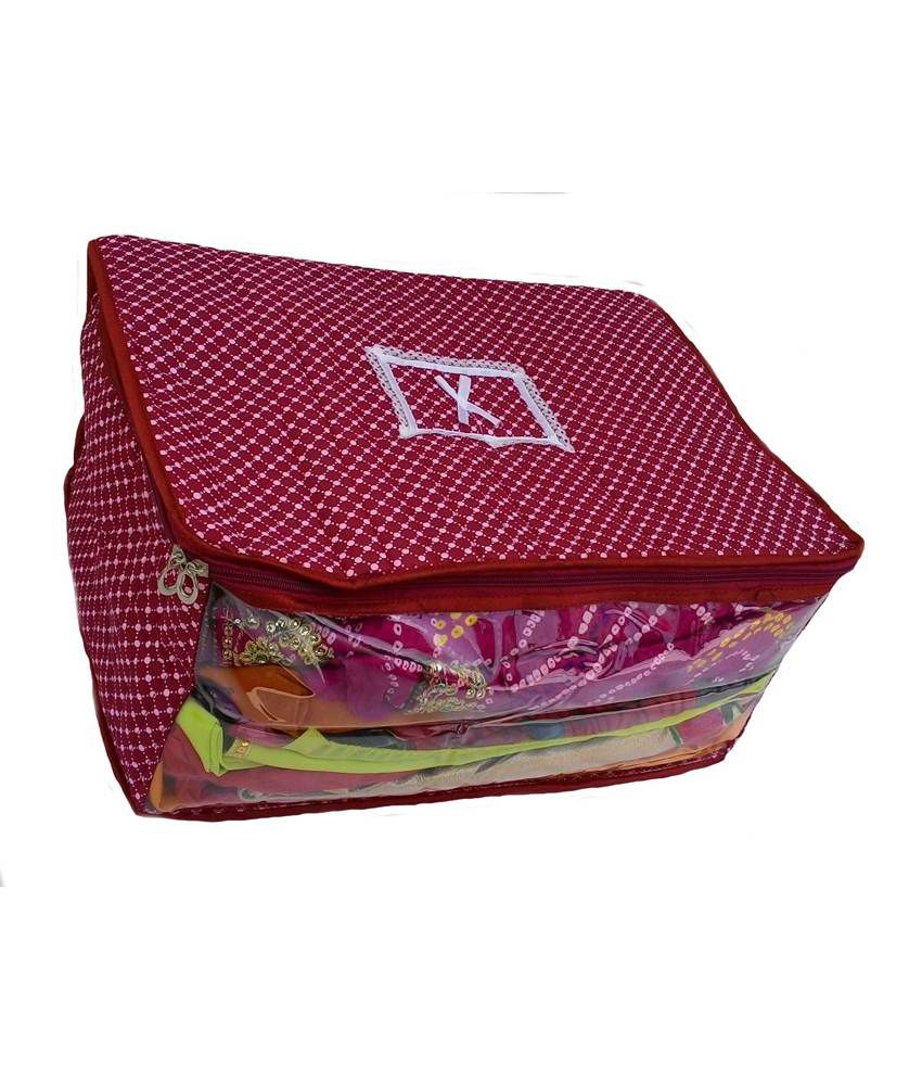 Indi Bargain Maroon Printed Quilted 3 Layered Saree Cover