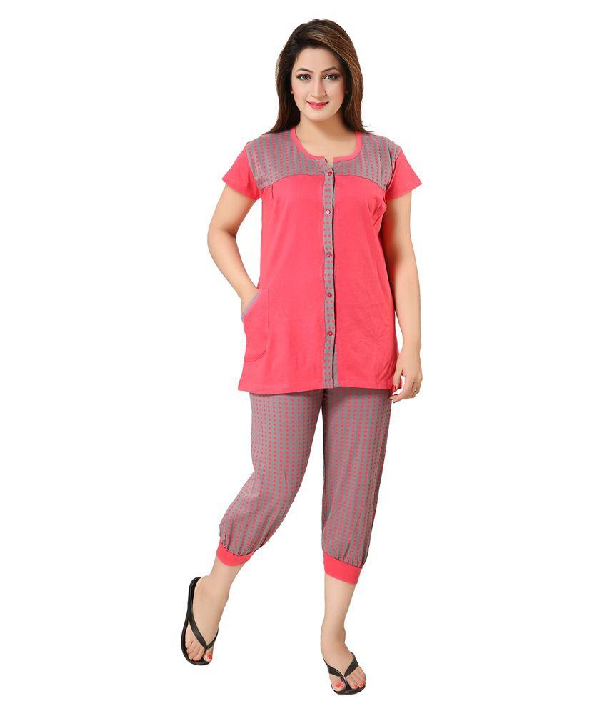KuuKee Pink Cotton Nightsuit Sets