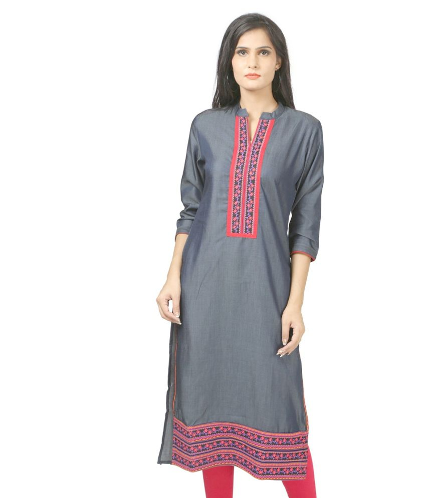 WRF Gray Cotton Kurti