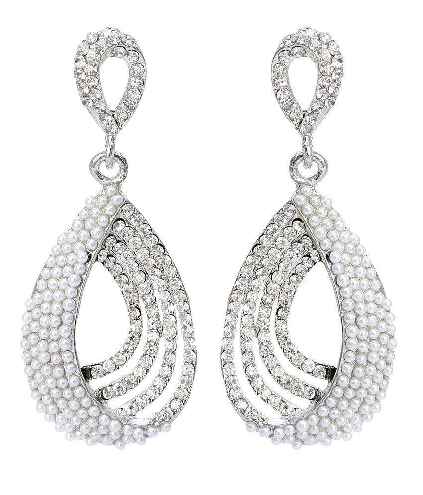 Lucky Jewellery White Cz Alloy Hanging Earrings