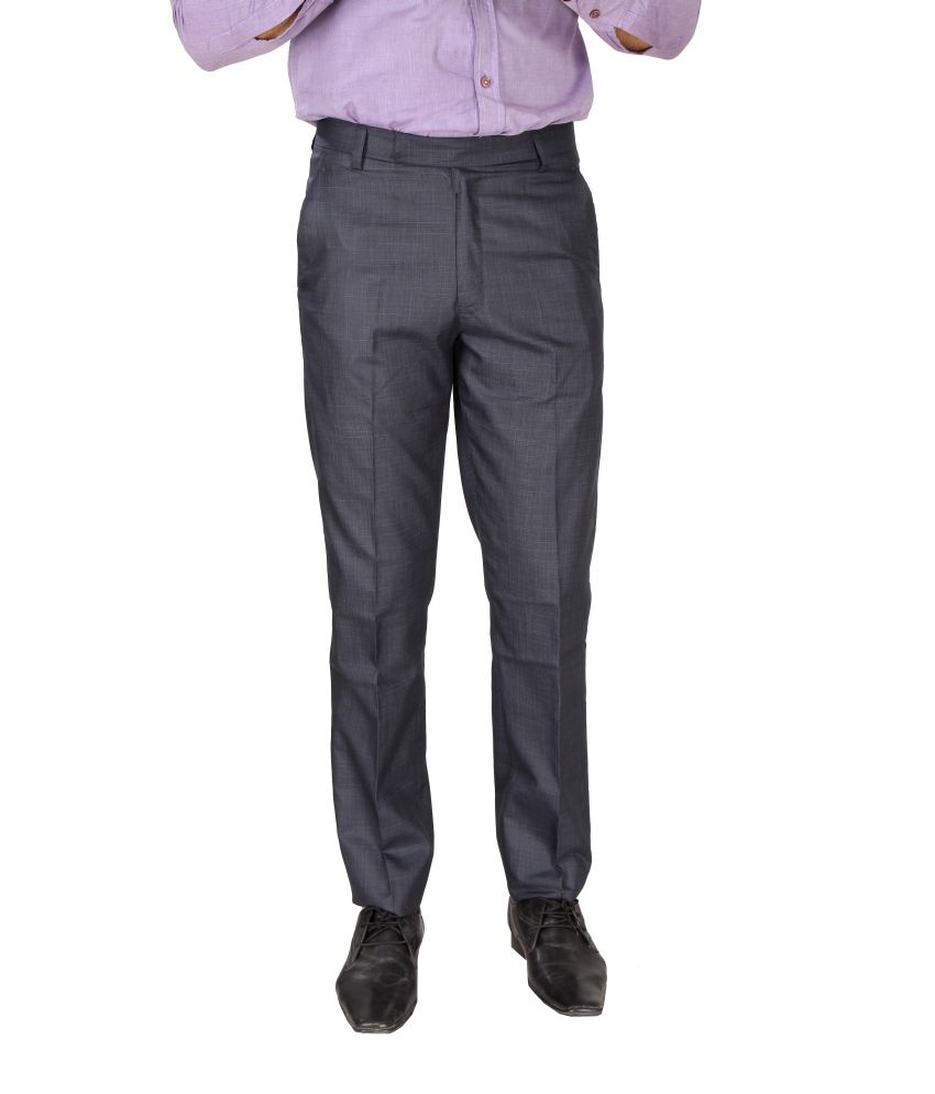 SLS Black Regular Fit Formal Flat Trousers