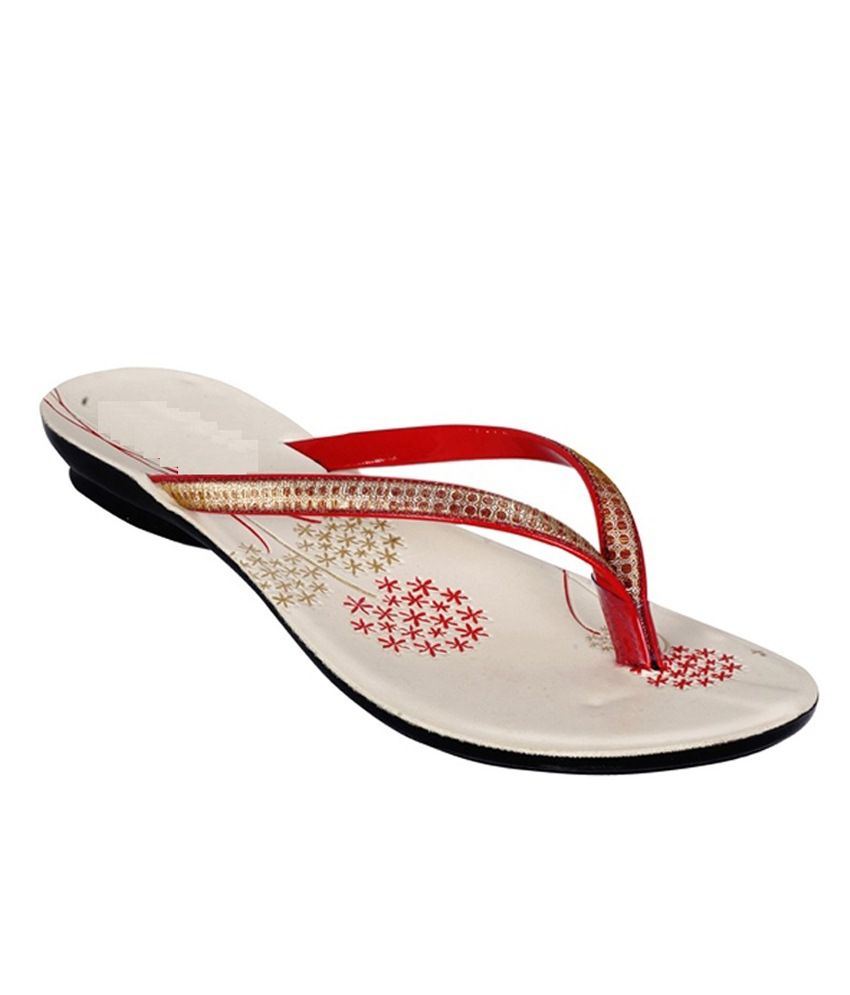 Satish Shoe White & Red Slipper