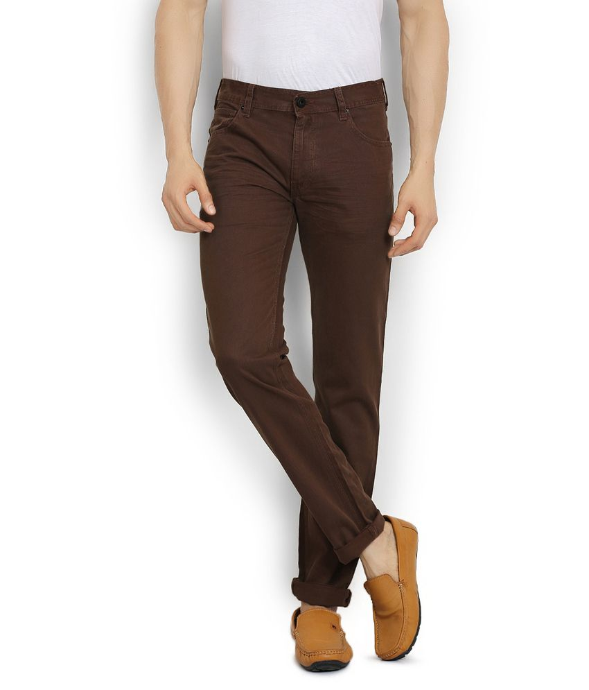 Stanley Kane Brown Slim Fit Casual Chinos Trouser