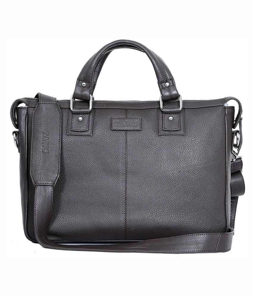 Taws Genuine Leather Brown Laptop Bag