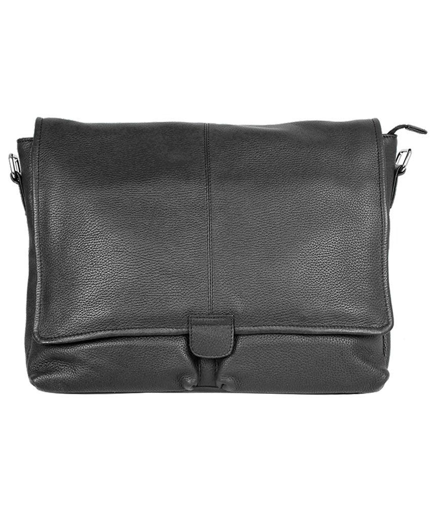 Taws Genuine Leather Black Laptop Bag