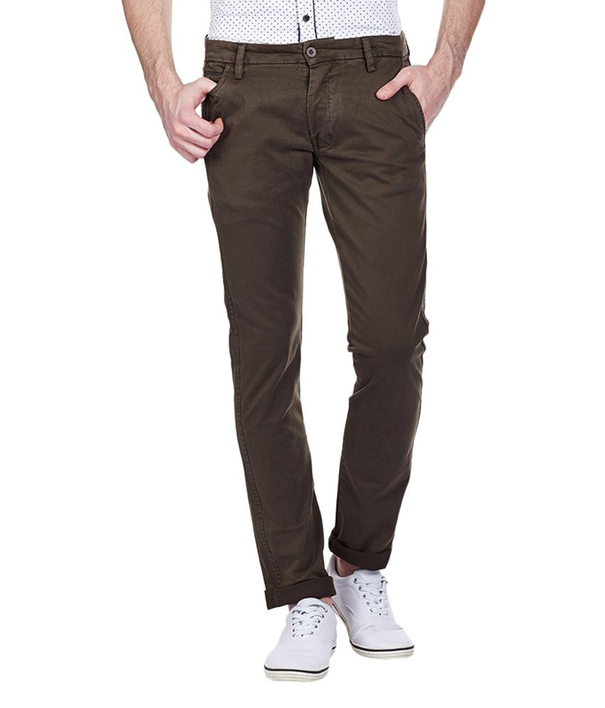 Vintage Brown Cotton Slim Fit Casual Chinos