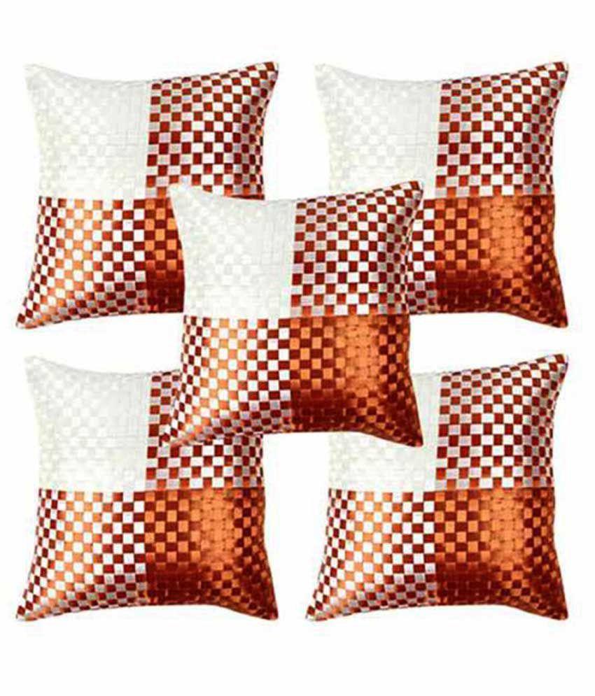 WishIT HaveIT Orange Checks Blends Cushion Cover Set Of 5