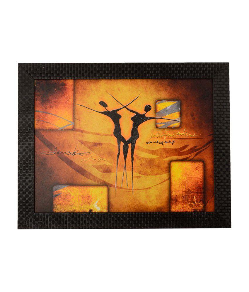 eCraftIndia Abstract Dance Scene with Satin Matt Texture and Framed UV Art Print