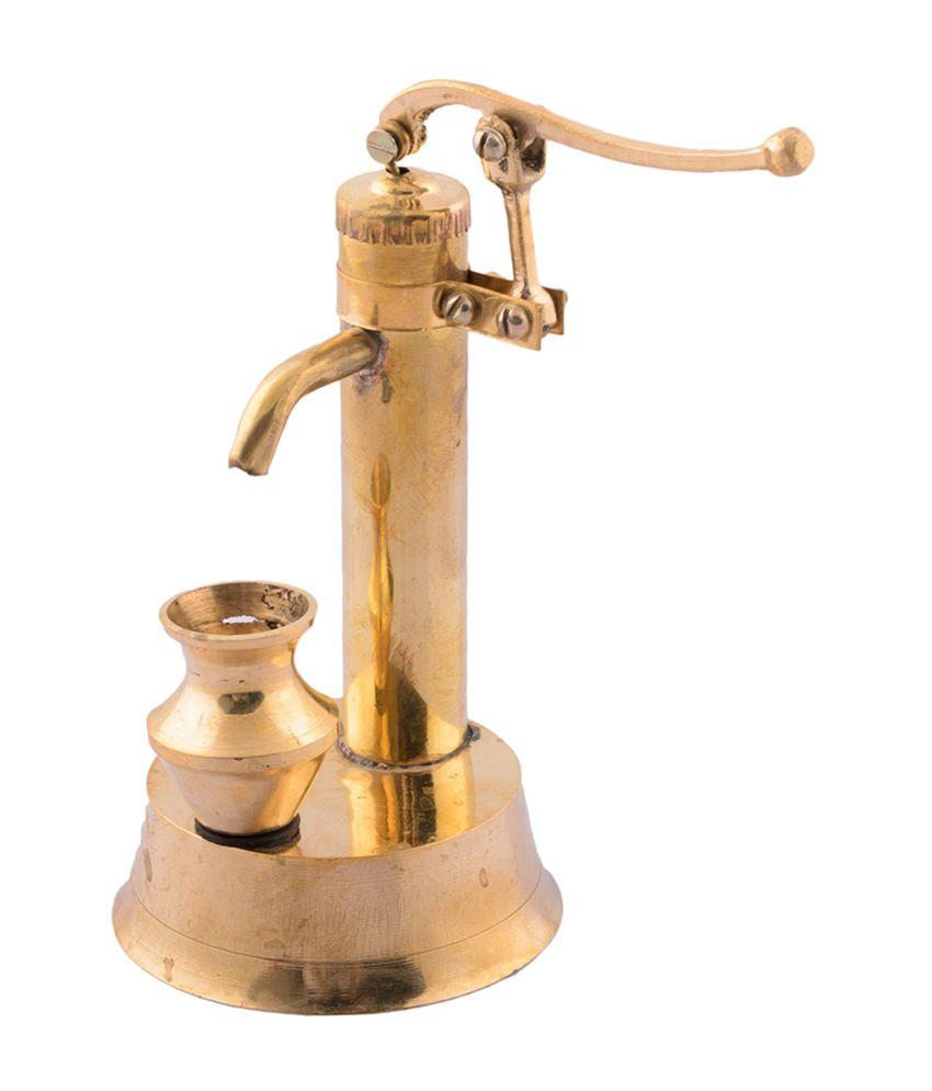 eCraftIndia Golden Antique Hand Pump Showpiece