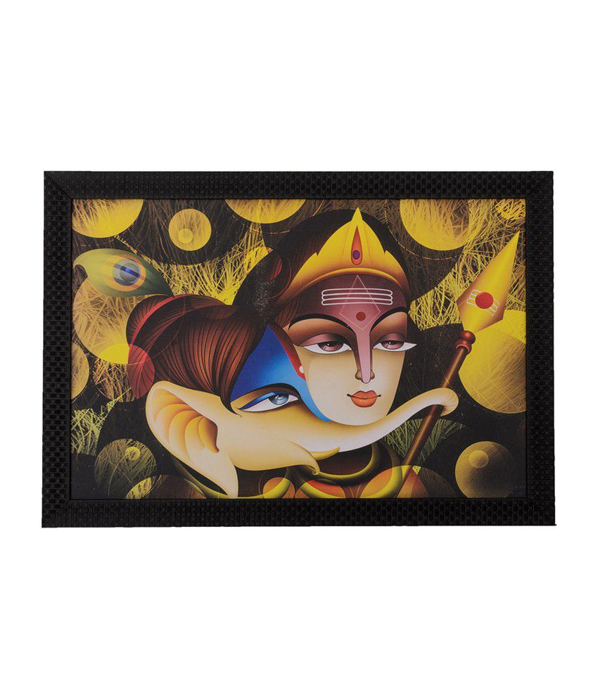 eCraftIndia Radha Krishna & Ganesha with Satin Matt Texture and Framed UV Art Print