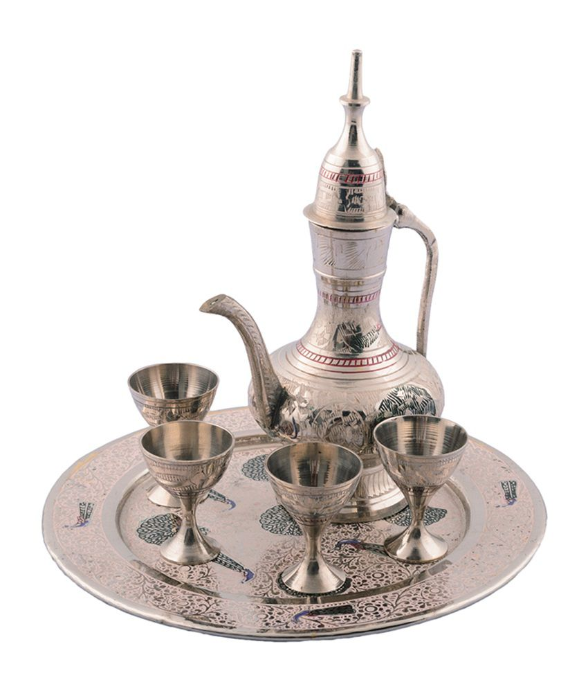 eCraftIndia Silver Wine Glass & Surai Set Showpiece