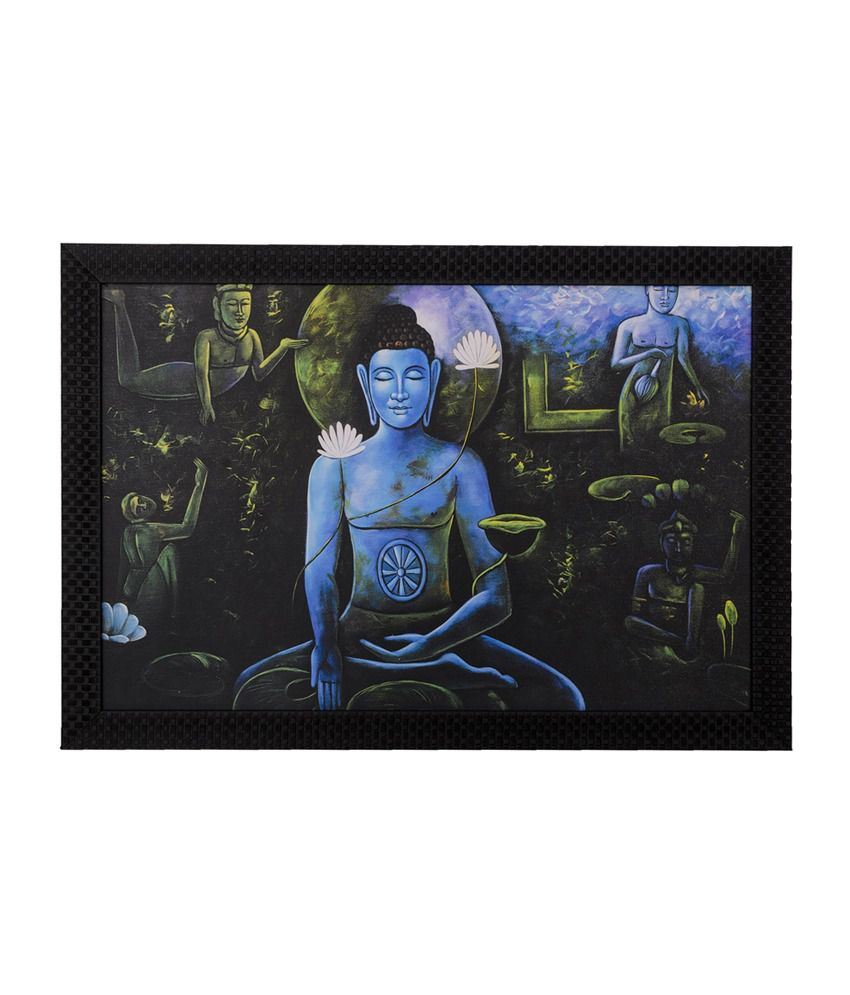 eCraftIndia Spiritual Buddha with Satin Matt Texture and Framed UV Art Print