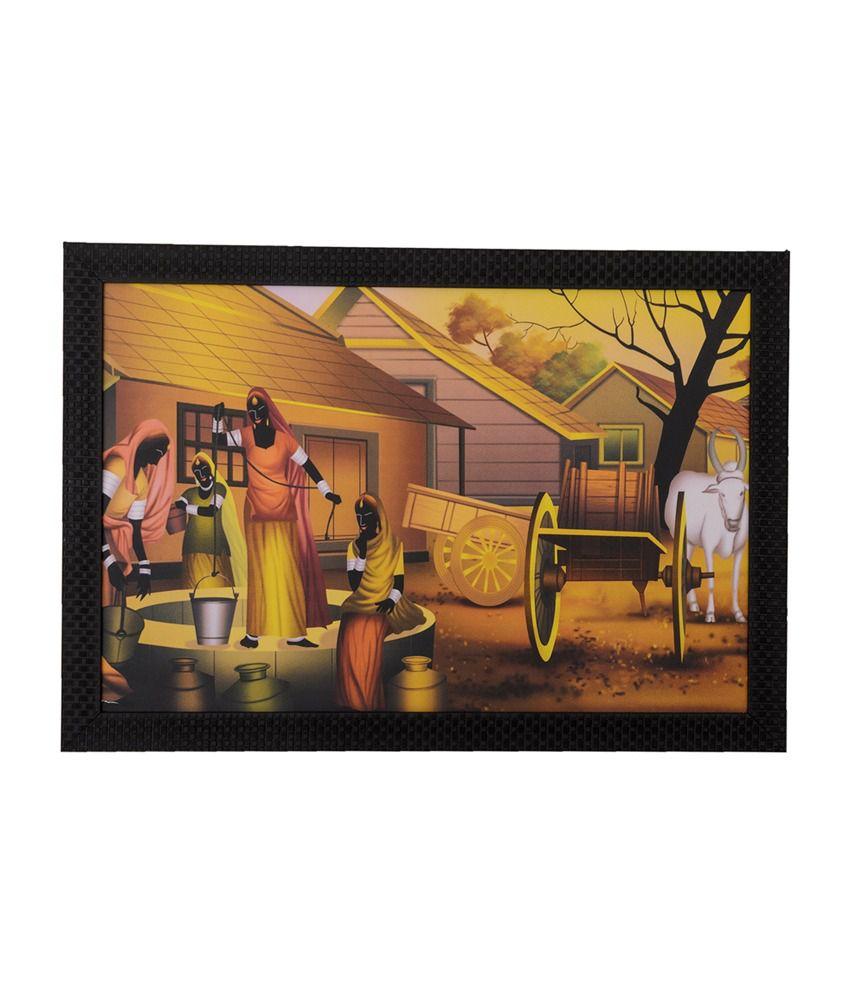 eCraftIndia Village Scene with Satin Matt Texture and Framed UV Art Print