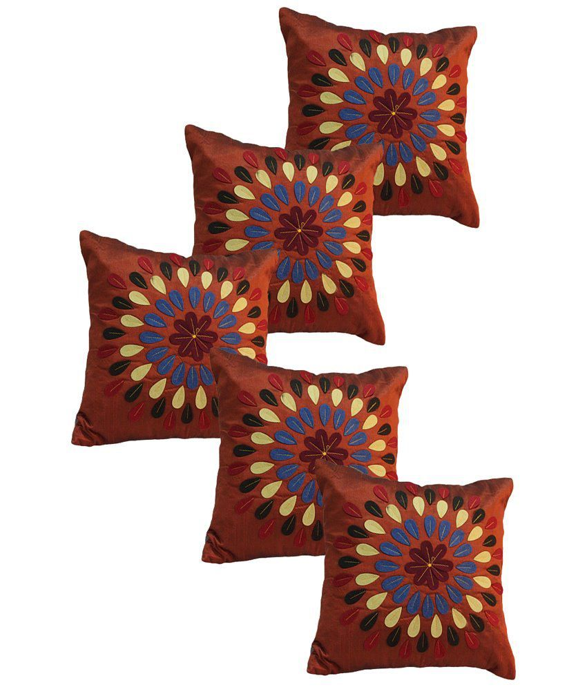 I Catch Pack of 5 Cotton Orange and Beige Floral Cushion Covers