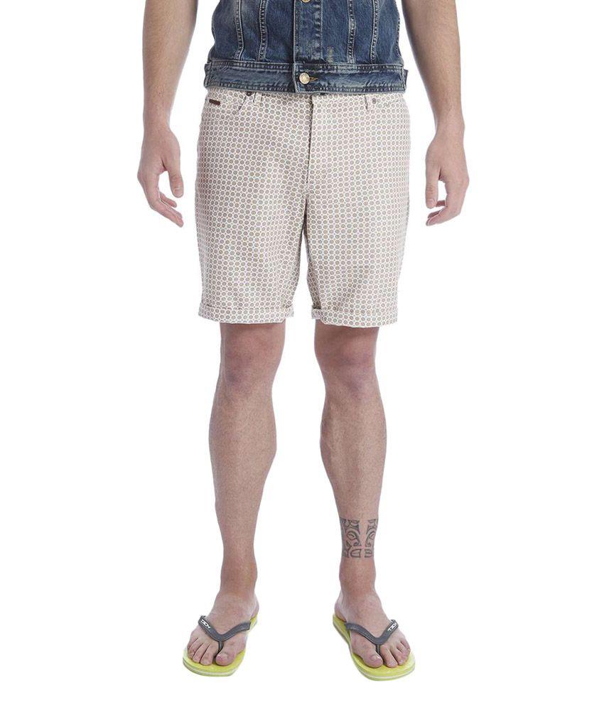 Jack & Jones Beige Cotton Printed Shorts