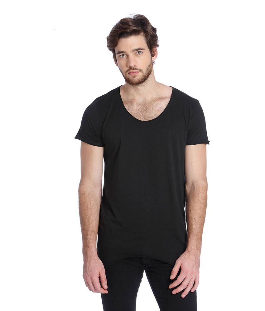 Jack & Jones Black Cotton Half Sleeves Men's T-Shirt