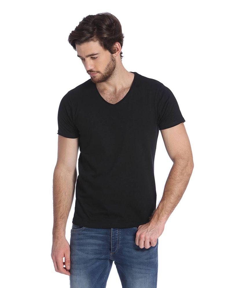 Jack & Jones Black Cotton Half Sleeves Men's T-Shirt