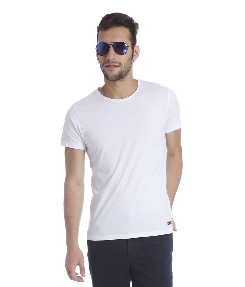 Jack & Jones White Cotton Half Sleeves Men's T-Shirt