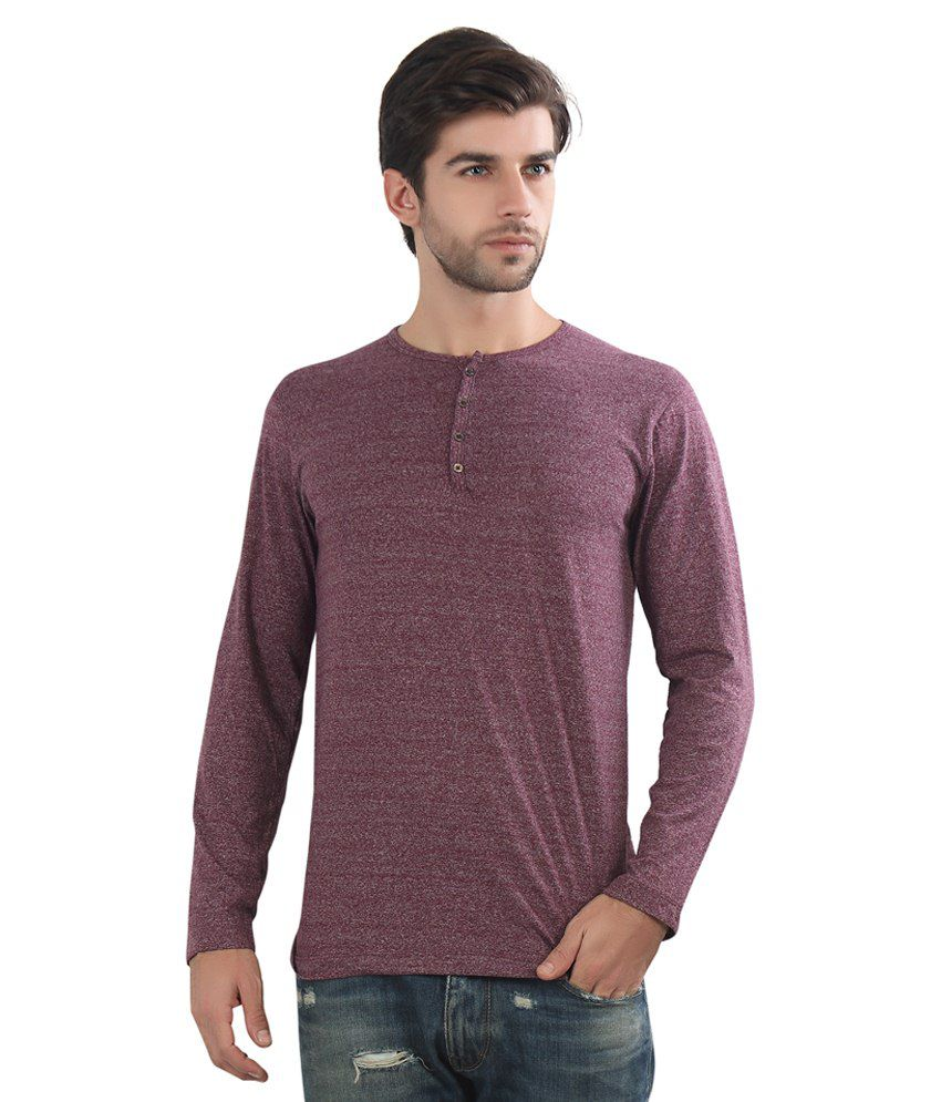 Maniac Maroon Cotton Blend T-Shirt low price