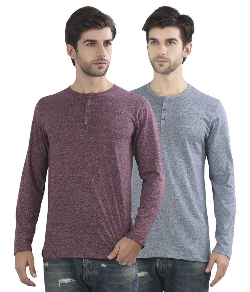 Maniac Multicolour Cotton Blend T Shirt Pack Of 2