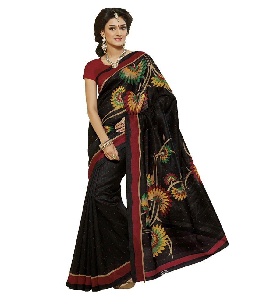 7718d44e4f233c Brahmi Fashion Black Flower Printed Ikkat Silk Saree - Buy Brahmi Fashion  Black Flower Printed Ikkat Silk Saree Online at Low Price - Snapdeal.com