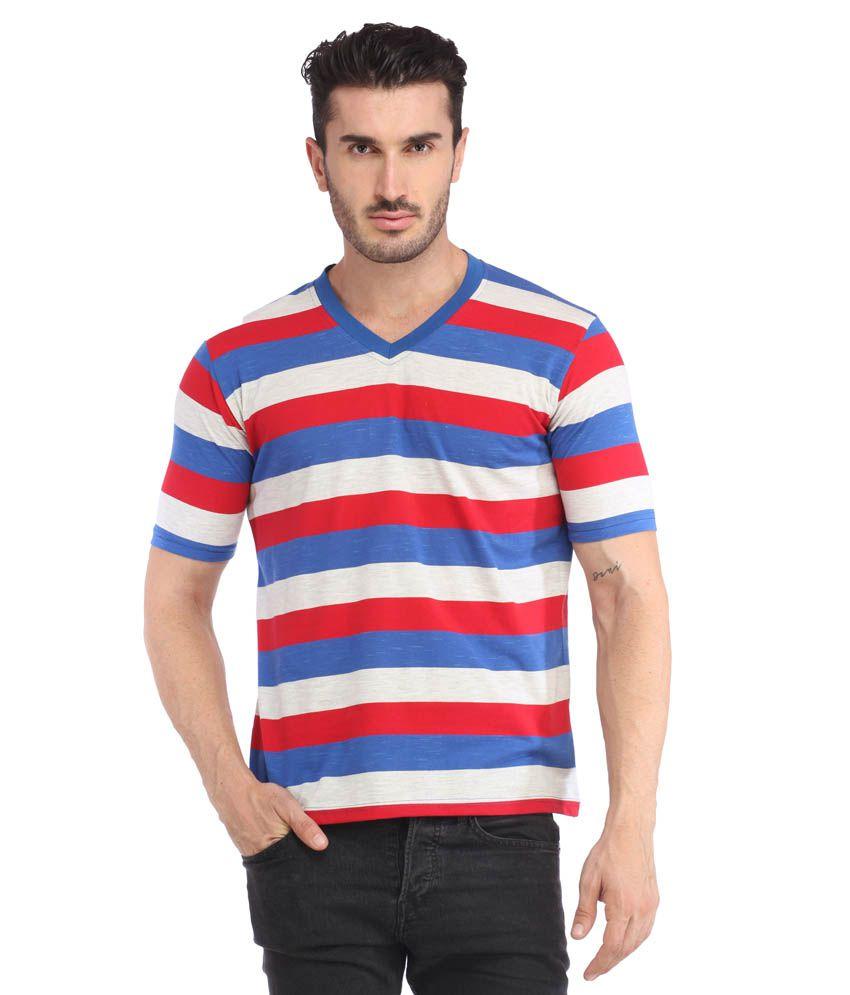 Leana Red-Blue-Grey Stripe Half Henley Men V Neck Tshirt