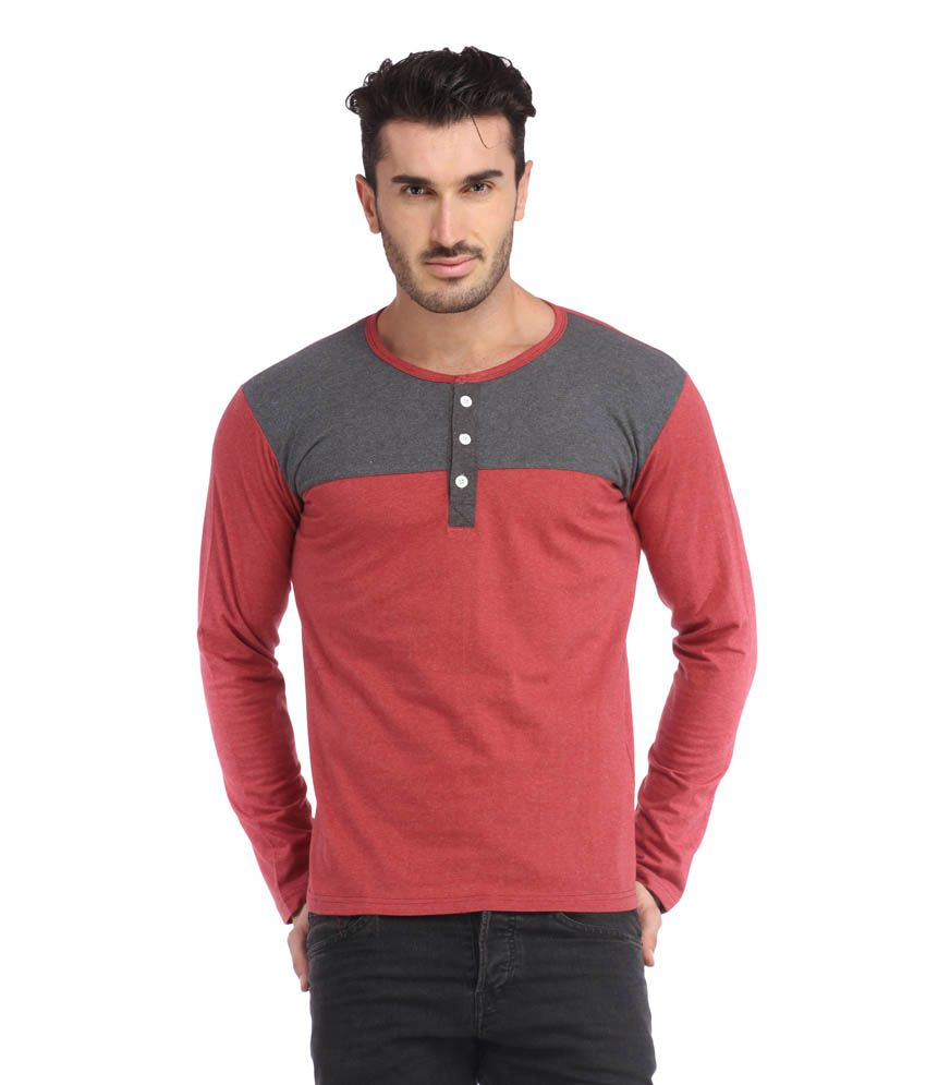 Leana Light Red-Light Grey Henley Men Tshirt