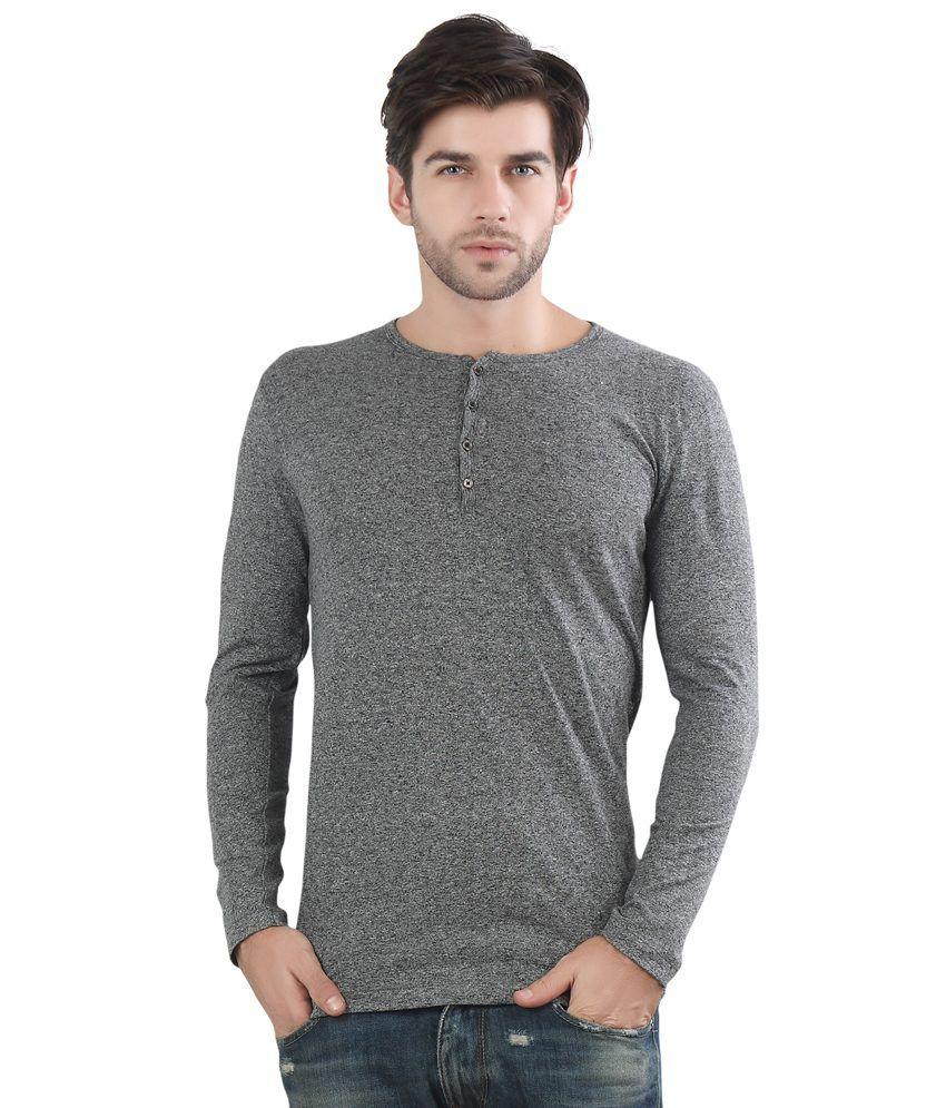 Maniac Grey Henley Neck T Shirt