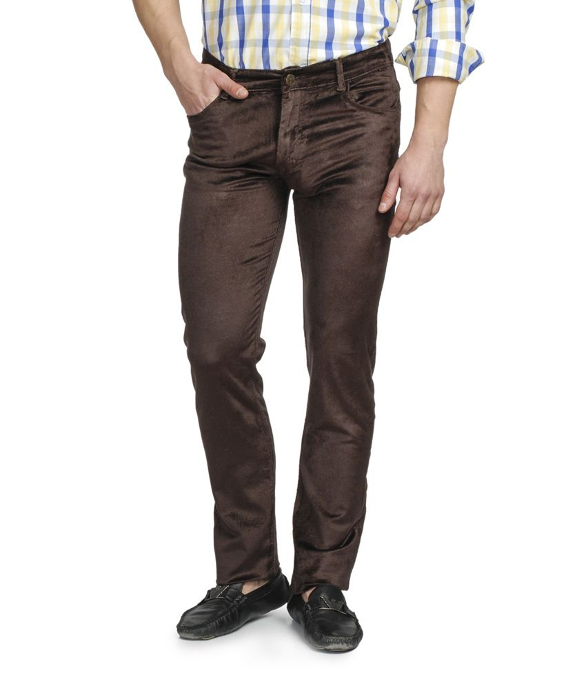 Ruace Brown Slim Fit Jeans