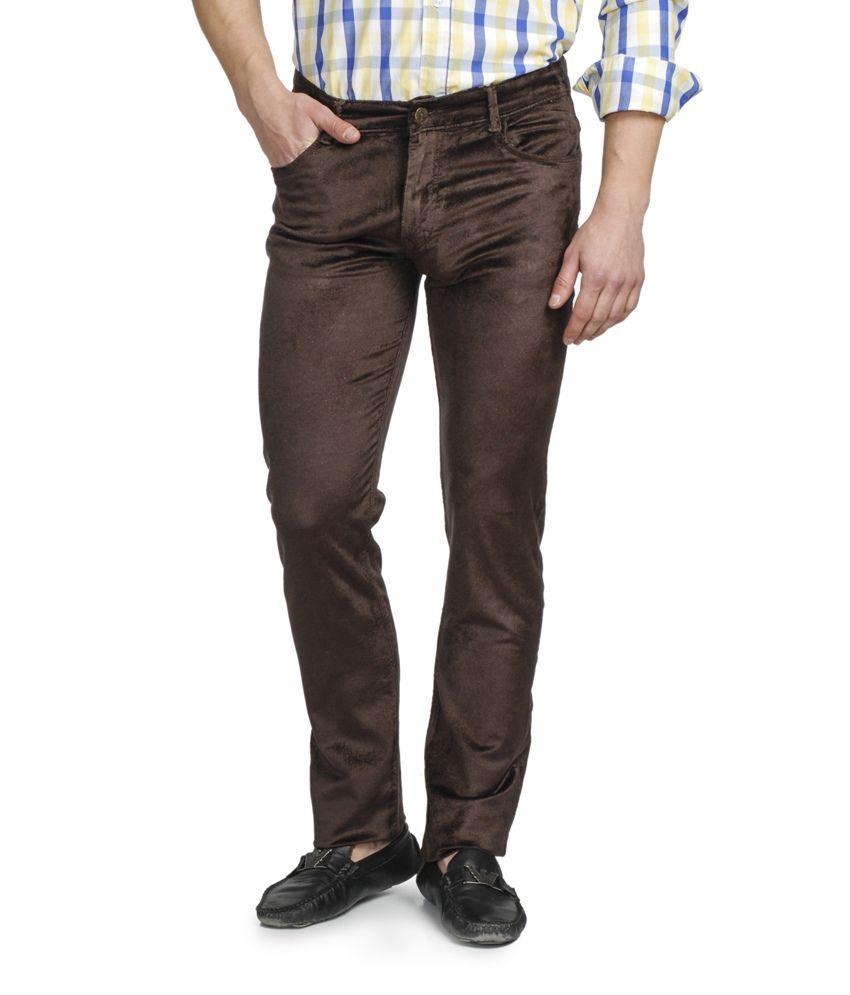 Ruace Brown Slim Fit Jeans