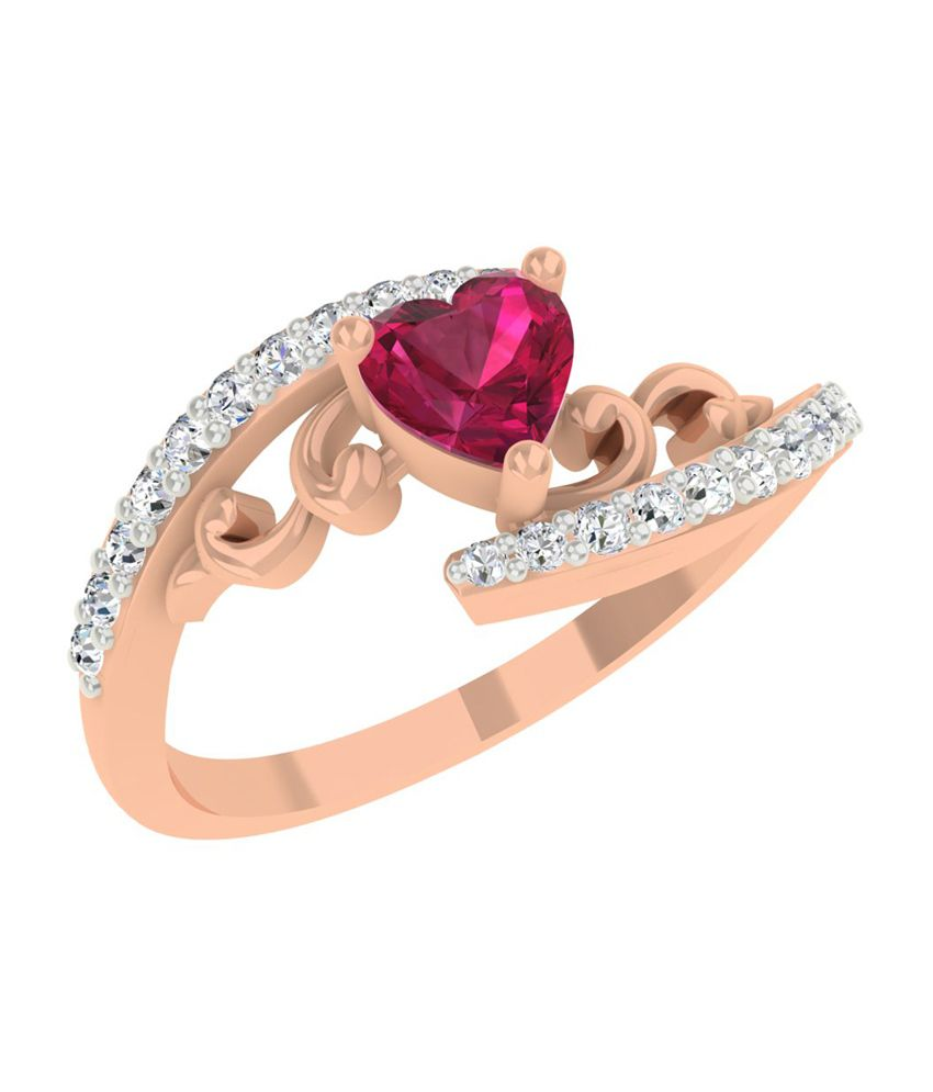 TBZ-The Original 18Kt Rose Gold Love Heart Ladies Ring with 0.19cts Diamonds
