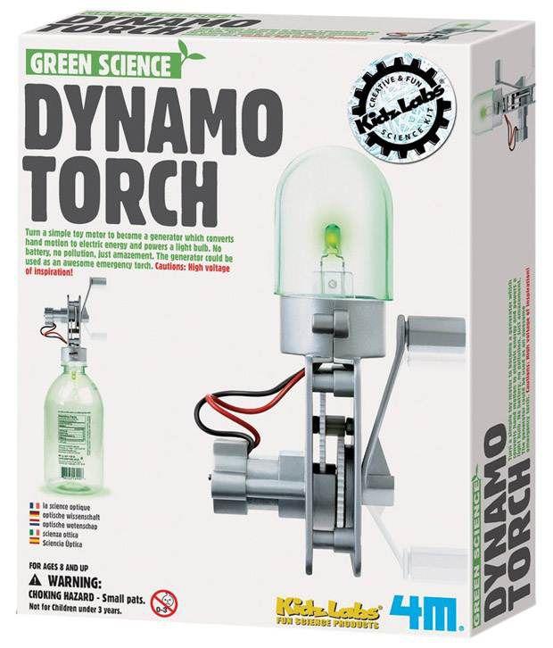 Toysmith Green & White 4M Dynamo Torch