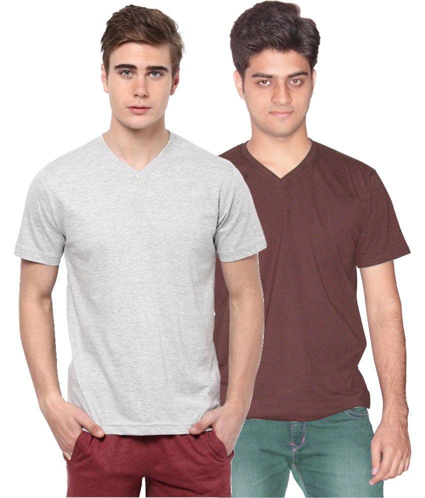 Xarans Multicolour Cotton T-Shirt - Pack Of 2