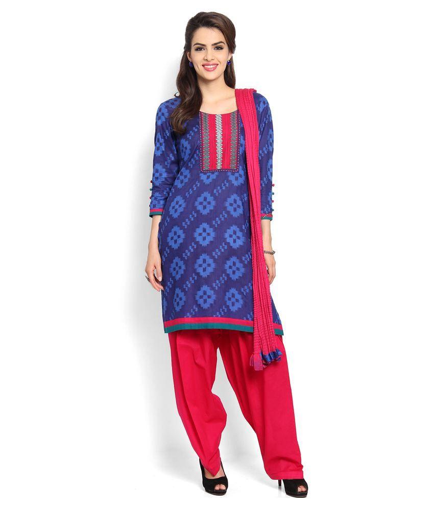Soch Blue Cotton Stitched Suit
