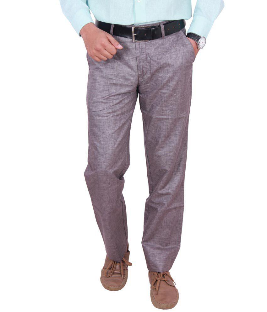 William Hazlitt Purple Cotton Blend Trousers