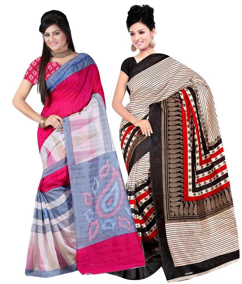 Patankarfab Multi Colour Raw Silk & Jacquard Silk Pack of 2