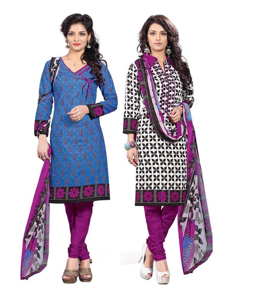 Manthan Multi Color Cotton Unstitched Dress Material