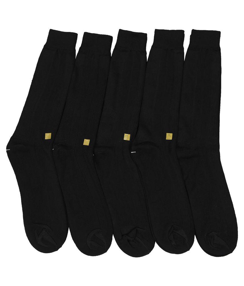 Mikado Self Design Black Cotton Full Length Socks - Set Of 3