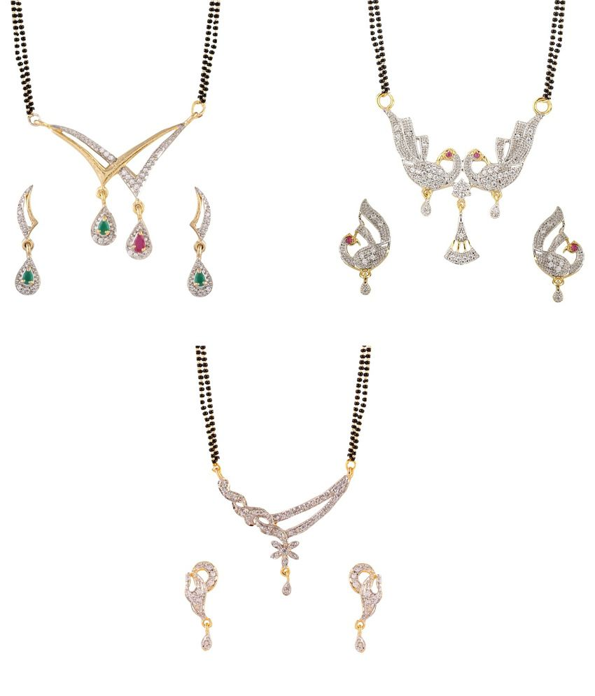 YouBella Alloy Gold Plated American Diamond Studded Mangalsutra - Set of 3