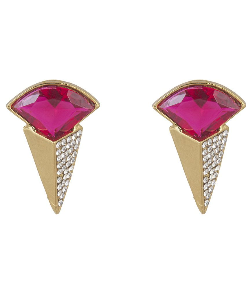 Inaya Pink Brass Polki Stud Earring